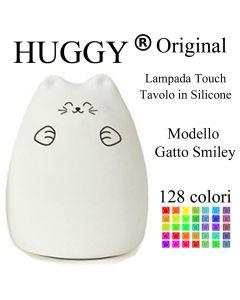 Huggy Led Gatto Smiley Multicolore Ricaricabile Cromoterapia Luce Notte Bambini