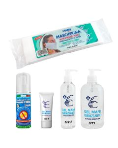 Gel e Spray Lavamani Igienizzante Elimina 99% Batteri Virus Viaggio Vari ML Senza Acqua + Mascherine protettive STI