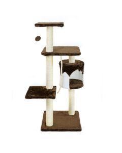 Albero Tiragraffi per Gatti parco giochi palestra gatto 60x60x113 Marrone Small Con Corda naturale