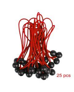 Elastici 25 pz con sfera Rosso 300mm fissaggio tende teloni cartelli alta qualità