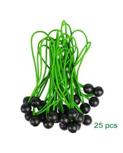 Elastici 25 pz con sfera Verde 300mm fissaggio tende teloni cartelli alta qualità