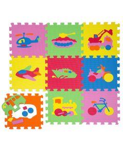 Tappeto Puzzle Eva forme Veicoli Tappetino Gioco bambini set 30x30 1cm 9pcs TOP