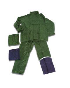 Completo impermeabile Antipioggia Giacca e Pantaloni in Pvc e Nylon Blu taglia L