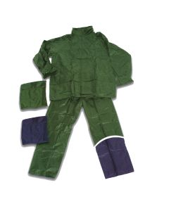 Completo impermeabile Antipioggia Giacca e Pantaloni in Pvc e Nylon Blu taglia XL