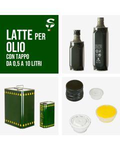 Latta per olio Verde a Bottiglie e Rettangolare stagna 250/500 ml 1 2 3 5 10 lt