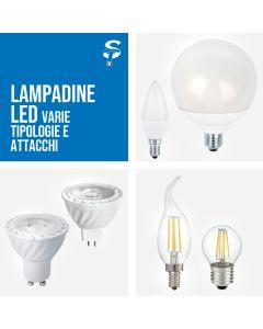 Lampadine LED E27 E14 GU10 4W-15w altissima qualità Candela Sfera bulbo globo