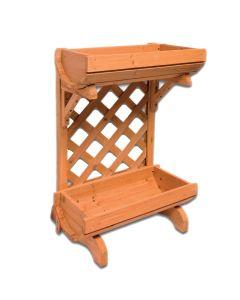 Portavaso Fioriera in legno grigliato a doppia Culla 50x37x77
