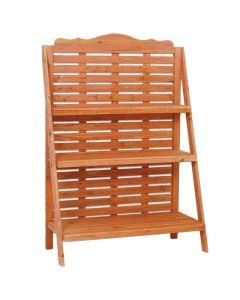 Portavaso Fioriera in legno grigliato 3 ripiani 95x42x135