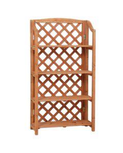 Portavaso Fioriera in legno grigliato 4 ripiani 67x30x125