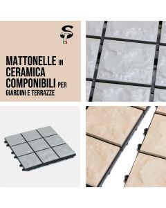 Mattonella 30x30 Ceramica Terracotta Beige o Grigia  Modulare Pavimentazione