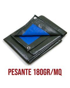 Telo Pesante Occhiellato Verde Blu Impermeabile Copritutto multiuso misura 6x12mt