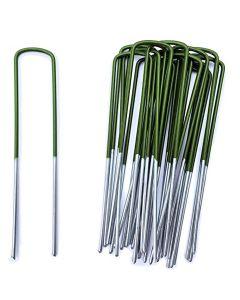 Kit 20 Picchetti Zincati fissaggio prato reti teli pacciamatura 150mm x 2,5mm VERDI