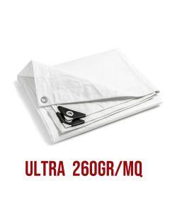 Telo PVC ULTRA 260gr occhiellato copertura impermeabile esterni Bianco 2X25m
