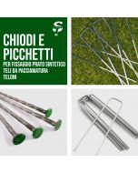 Kit Picchetti/Chiodi Zincati fissaggio prato tenda reti teli pacciamatura lunghezza 150mm